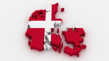 Grafik vom Land Daenemark in den Farben der daenischen Flagge