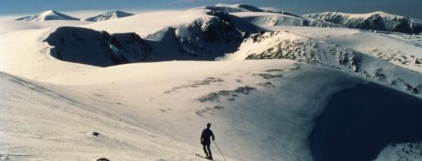 Skiier im Backcountry und divusem Licht auf einer unpreparierten Piste.