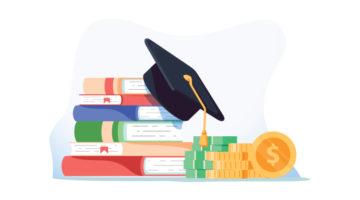 Bücherstapel und Geldstapel