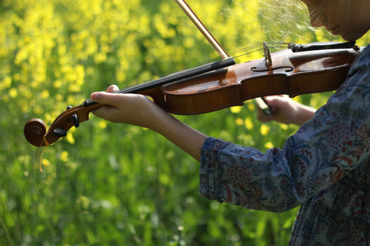 Mädchen spielt Violine in der Natur