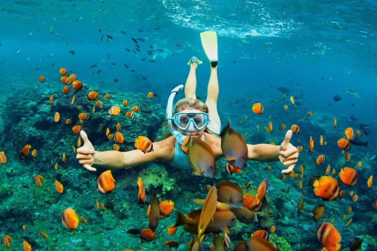 Frau taucht mit goldenen Fischen